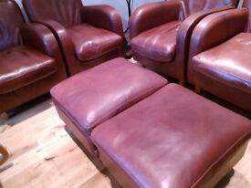 Pair of Habitat Havana Brown Leather Club Armchairs and Footstool (Herne Hill)
