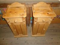 Pine bedside tables pair