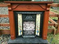 108 Cast Iron Fireplace Surround Fire Wood Old Tiled Insert Antique Victorian Style