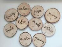 Wedding place name/favour log slices!