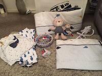 Complete whale bay nursery set with extras