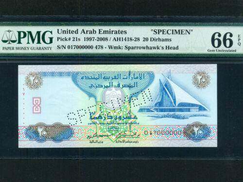 United Arab Emirates (UAE):P-21a,20 Dirhams,1997* SPECIMEN * PMG Gem UNC 66 EPQ