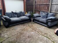 Black And Grey 3 And 2 Seater In Good Condition £275 (Can Deliver)