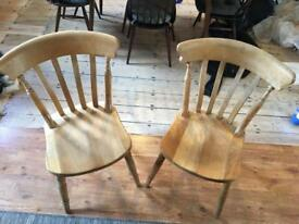 2 sturdy pine dining chairs - farmhouse style