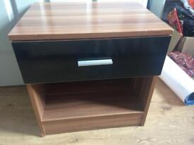 Black gloss and beech effect table with draw