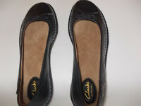 CLARKS black ladies flat shoes