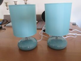 2 pretty turquoise bedside lamps BARGAIN £5