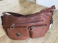 Brown leather organiser bag