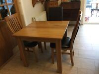 Solid oak square table and 3 chairs