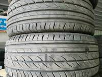 FREE FITTING 2 X MATCHING 215 45 17 TYRES 7MM NEARLY NEW MATCHING PAIR