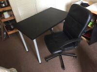 Good condition office chair and desk