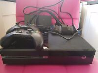 Xbox 1 with 2 wireless controllers and charger