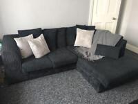 Black corner sofa, 2 seater & footstool