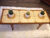 Retro, Vintage, Wooden Framed Coffee Table with Beige Tiled Top