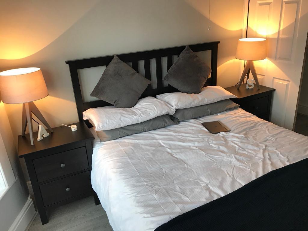 Ikea Hemnes Kingsize Bed Frame Black Brown In Old Swan