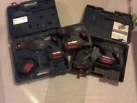 Bosch 36v SDS X 2 and recip saw including 4 batteries.