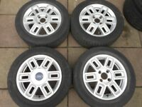 """FORD FUSION, FIESTA ZETEC ST, PUMA, KA 15"""" inch ALLOY WHEELS WITH TYRES"""