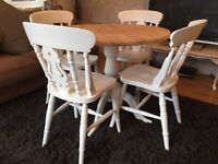 Amazing Round Shabby Chic Pine Table and 4 Chairs