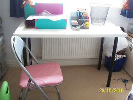 SELLING MY WHOLE DINING/WORK TABLE SET UP WITH FOLDING CHAIR AND DESK TOP ITEMS