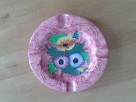 Maling Pottery Ashtray in Pink - Beautiful artwork!