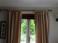 Natural Coloured Linen Full Length Tab Top Curtains
