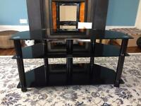 Glass TV stand with cable tidy