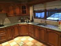 Solid Oak Kitchen for Sale. Hob, Fridge and extractor included
