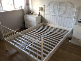 White Ikea Metal Bed Frame - European Double