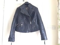 NEXT SIZE 10 PU LEATHER BIKER JACKET, QUILTED.
