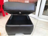 Brown leather foot stool/ ottoman