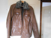 Rino & Pelle Men's Brown Leather Jacket with Detachable Fur Collar