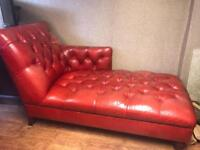 John Lewis Chesterfield Red Leather Chaise Lounge