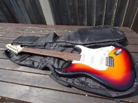 Great Aria STG Stratocaster in Sunburst with gig bag