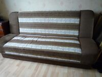 Brown Floral Sofa Bed Futon (+ internal storage) Small Double