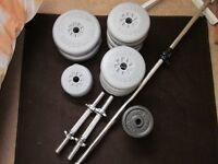 York Dumbell and Barbell weights with bars