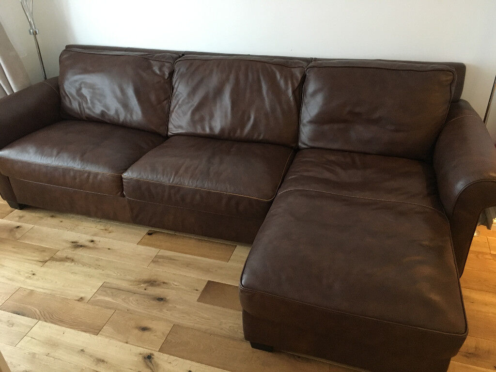 Natural Leather Sofa Bed Brown