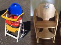 Plastic and wood high chair