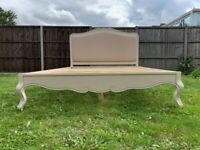 Pretty Lemaire French Antique Ivory Upholstered 5ft King Size Bed – Quality & Great Condition