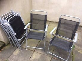 Six Garden Chairs, (no table), metal and mesh in good condition, Navy blue.