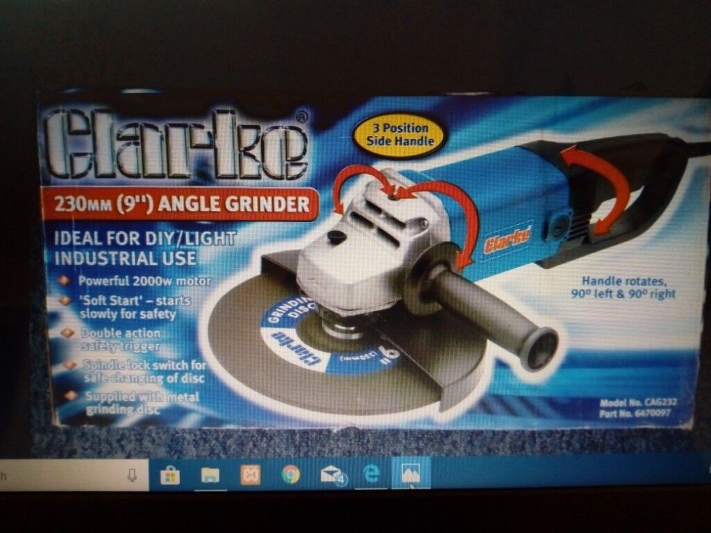 New Clarke 230mm 9quot Angle Grinder