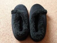 Black suedette slippers Size 6