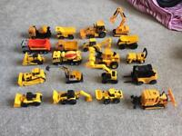 Collection of toy diggers and trucks