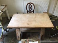 Vintage, chunky, old dairy table, ideal for a kitchen table - worn needs sanding. Seats 4