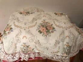 M&S FULL SET OF FLORAL DOUBLE BED LINEN CREAM ROSE DUVET VALENCE PILLOWCASES