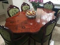 Italian dining table with six chairs