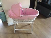 Moses basket with white stand