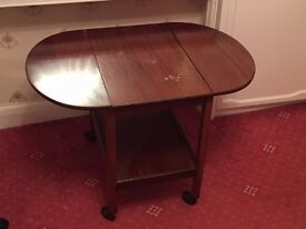 Small Fold up wooden table on wheels