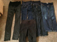 Ladies Bundle of 5 Pairs of maternity Jeans size 4-8 over bump and under bump will post