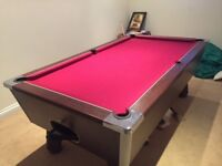 Pool table 7'x4' slate bed, new cloth, two cue tables 4 cues (2 long, 2 short) collection only