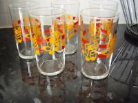 Set of 5 retro glasses with musical notes